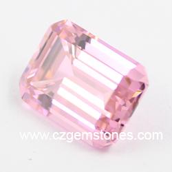 AAAAA pink emerald cut cubic zirconia