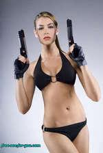 Bikini girl with a gun