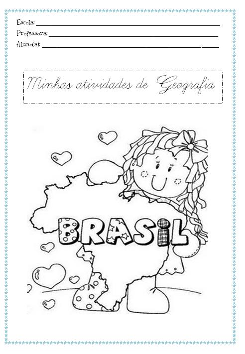 Capa para atividades de geografia, para colorir - Desenhos Para