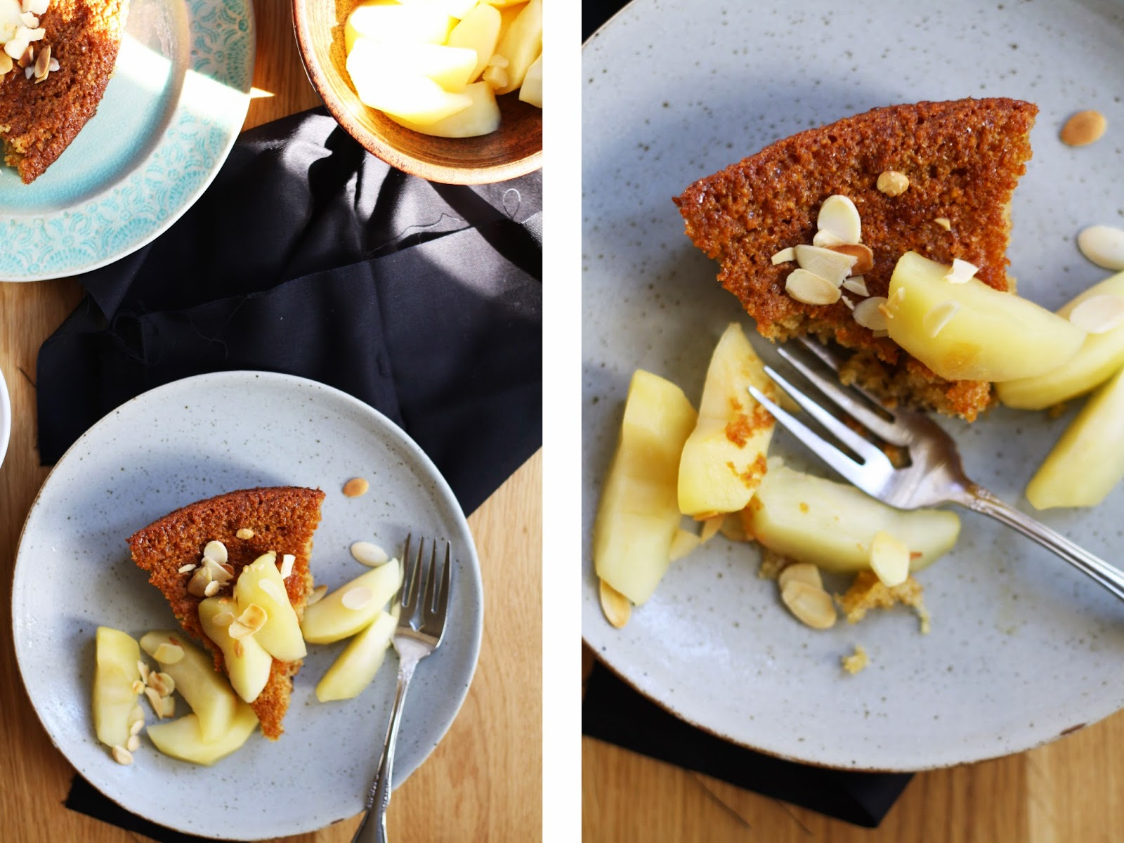 Honey + Almond Cake with Ginger Poached Apples // sevengrams