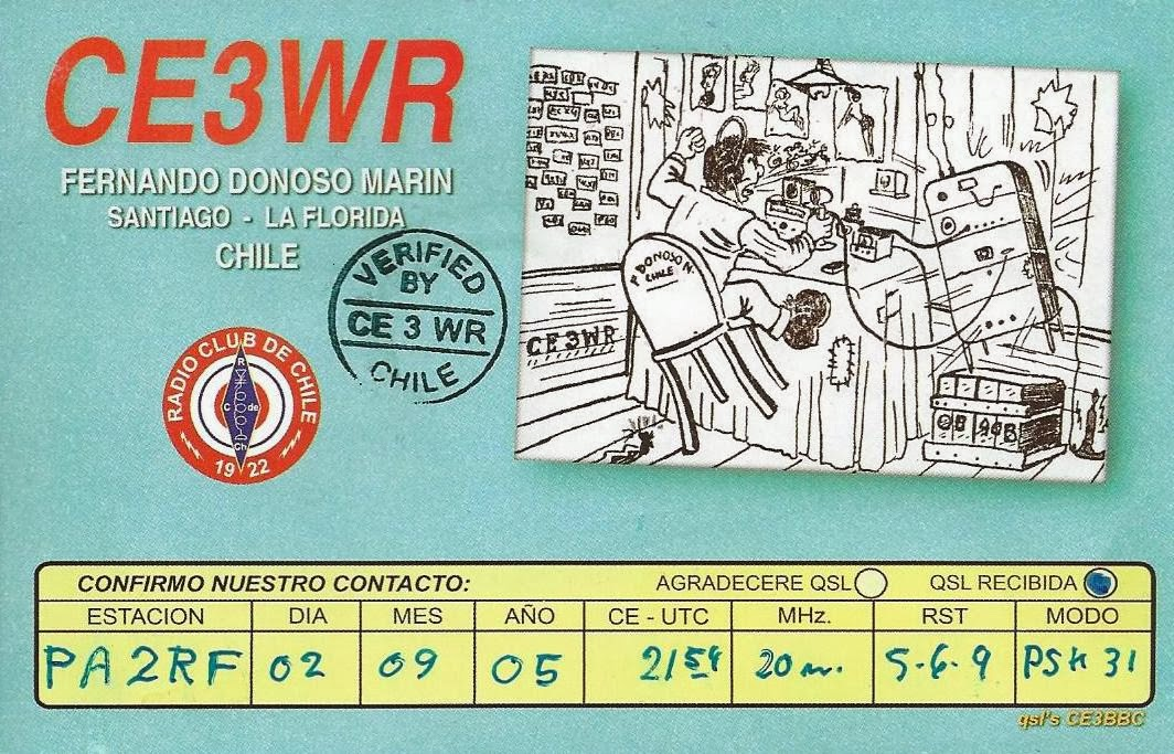 sometimes qsl cards take a while before they arrive last week i received a card via the bureau from fernando ce3wr the qso was made in september 2005