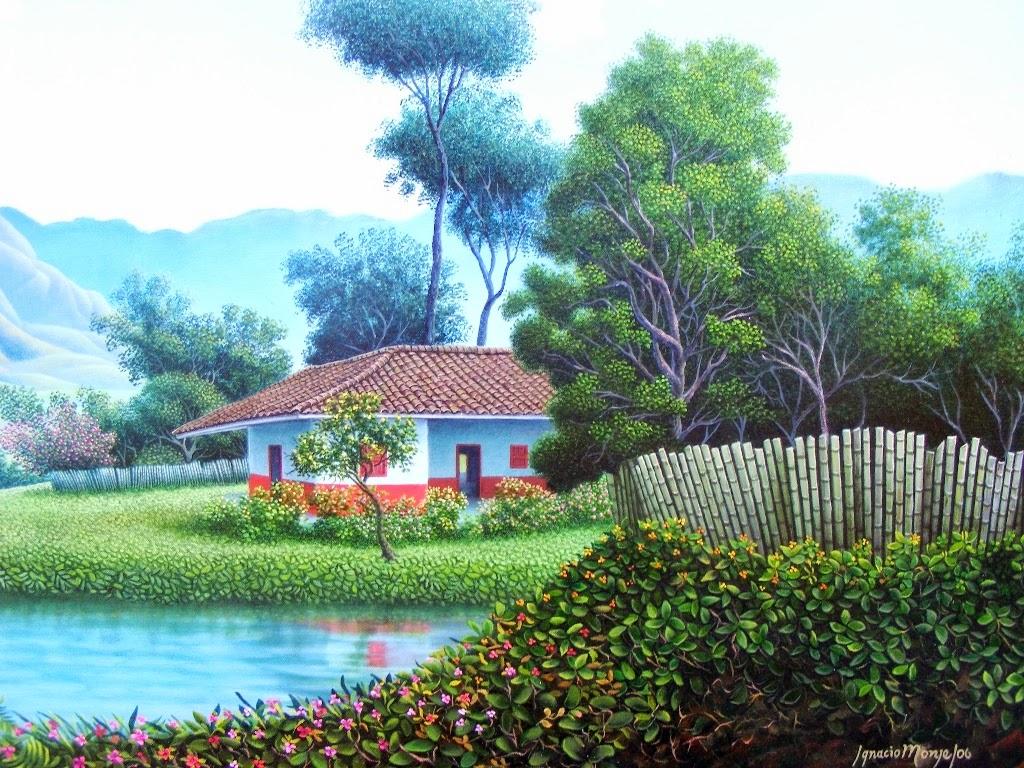 Im genes arte pinturas pinturas en puntillismo al leo de - Paisajes de casas ...