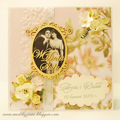 kartki okolicznościowe scrapbooking kartka weselna kartka na ślub Barbara Wójcik