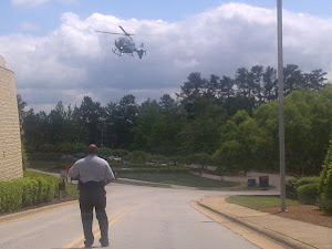 At Cary, we had to wait for a Medivac Helicopter to land near our hotel.  CSpan was there, as well