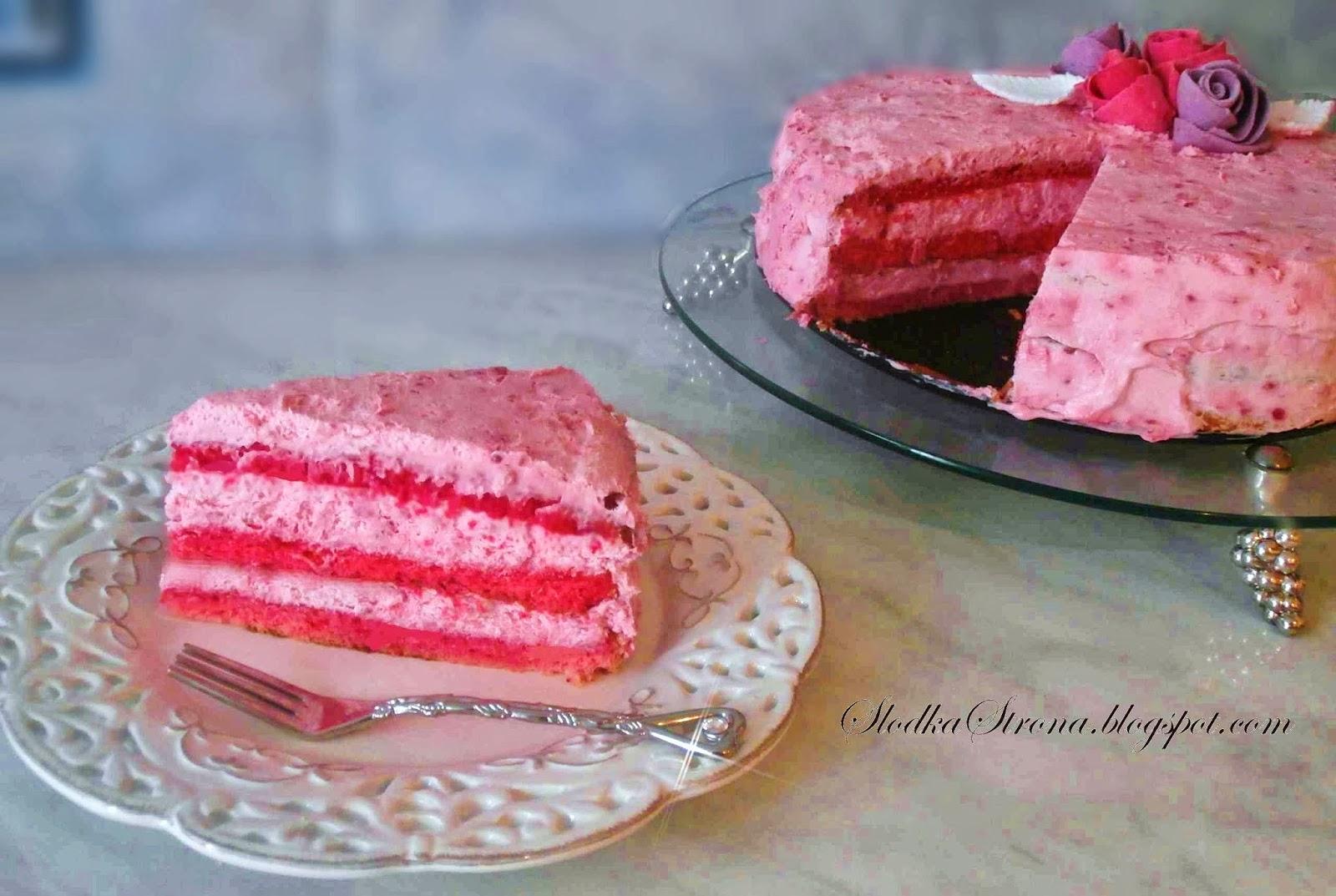 Różowy Tort Malinowy - Przepis - Słodka Strona