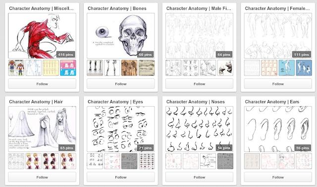 Album de dicas sobre anatomia e character design.