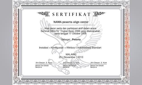 contoh sertifikat desain dengan background contoh sertifikat stikom ...