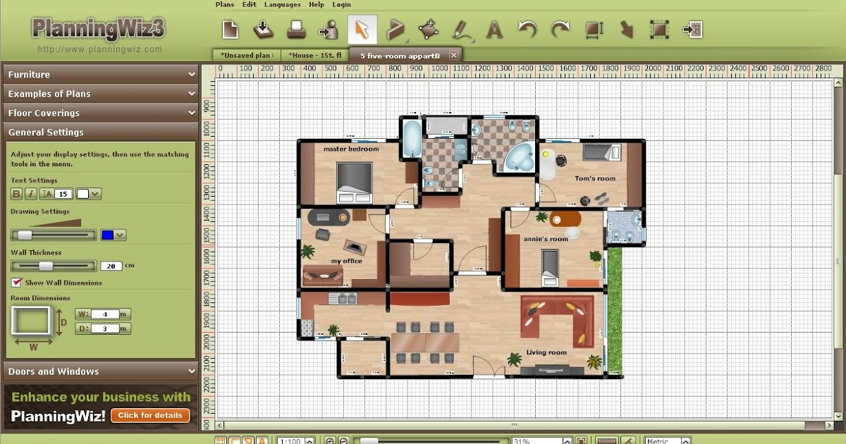 Planningwiz free online room design tool home design for My deco 3d planner