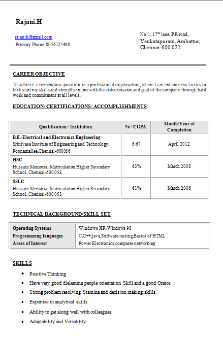 Sample Resume Electrical Engineer. Resume Templates