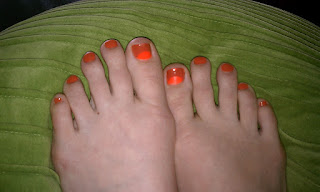 A half-moon pedicure using China Glaze Japanese Koi and Life Pre