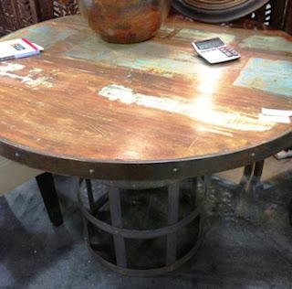 rustic, table, repurpose, steel