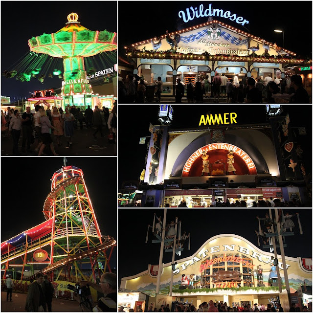 Colourful lights from food vendors, fun rides and Beer Houses at the Octoberfest Festival in Munich, Germany