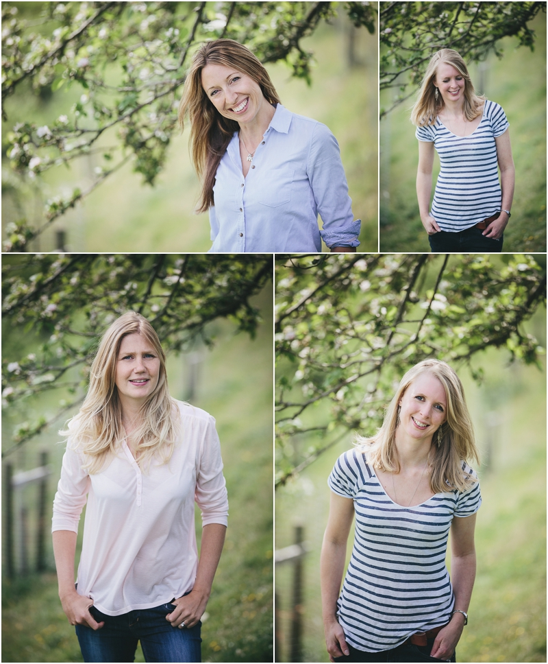 Portraits of women in an orchard