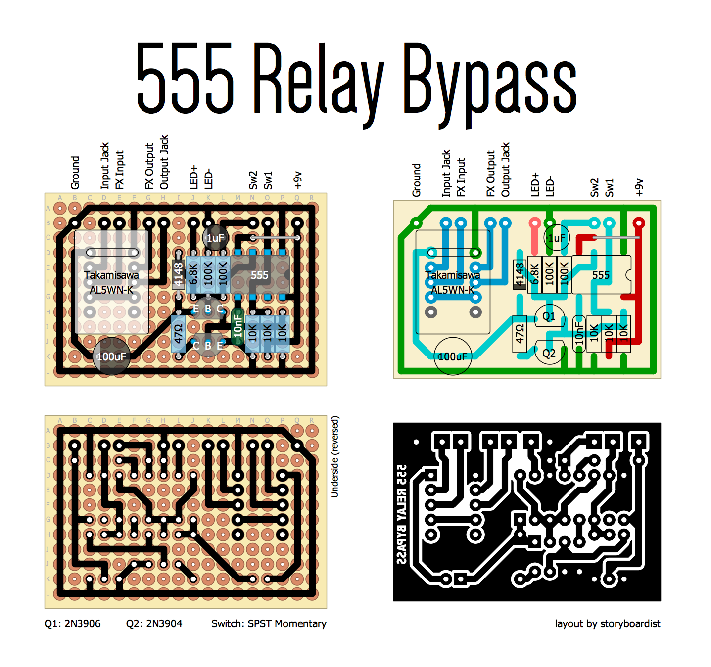 Perf And Pcb Effects Layouts 555 Relay Bypass Bistable Schematic Mictester Says That The Must Be A Takimisawa Al5wn K But They Are Easily Found On Ebay Other Vendors Further Discussion Can
