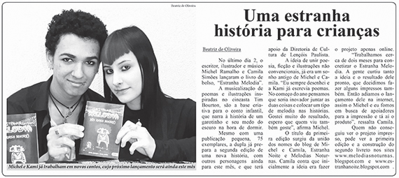 Estranha Melodia na mídia! - Notícias de Lençóis - Michel Ramalho e Camila Simões