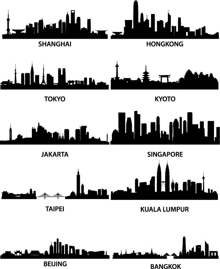有名な都市の遠景を描いたシルエット wellknown city silhouette イラスト素材2