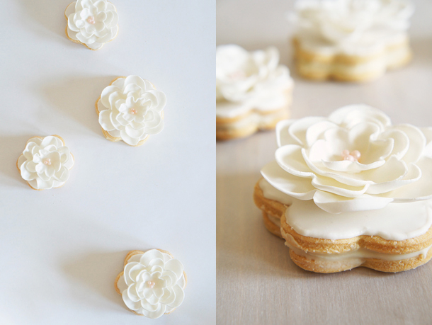 vanilla, sandwich, cookies, ganache, white chocolate, fondant, flower, royal icing, giveaway, cook book, shauna sever, pure vanilla, creme, bake, baking, recipe