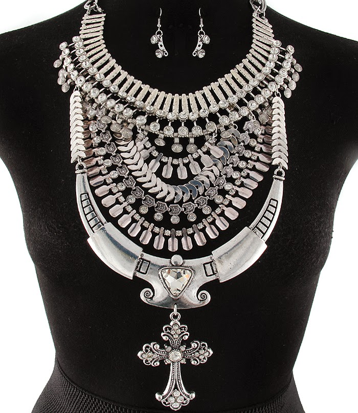 Silver Rhinestone Warrior Egyptian Cross Statement Necklace