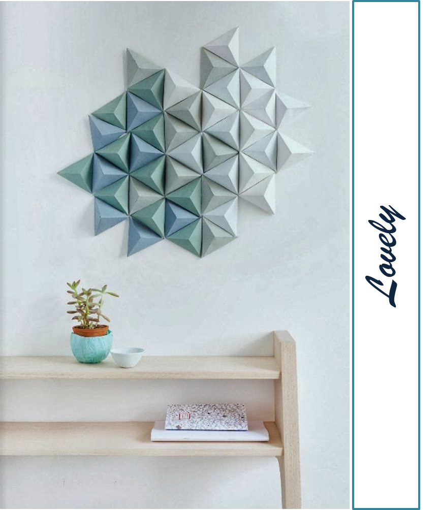 decoraci n f cil diy decorar la pared con murales de origami. Black Bedroom Furniture Sets. Home Design Ideas