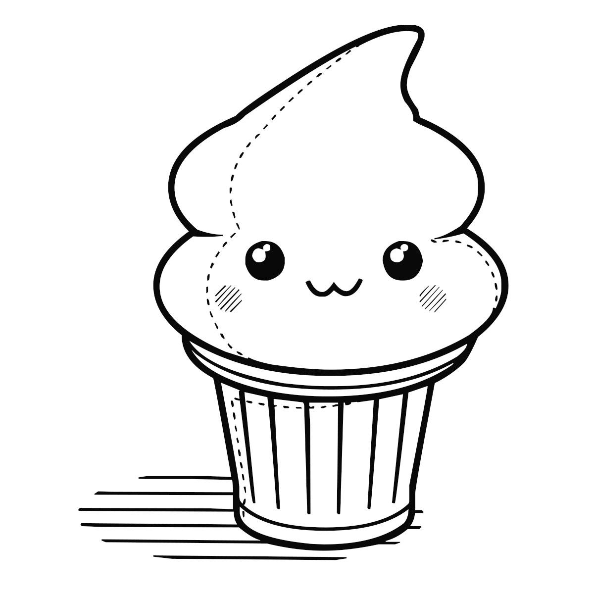 Cupcakes Animados Para Colorear | Olivero