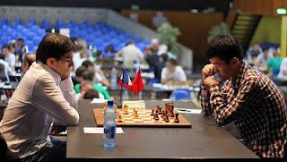 Echecs à Bienne : Maxime Vachier-Lagrave vs Ding Liren © Chessbase