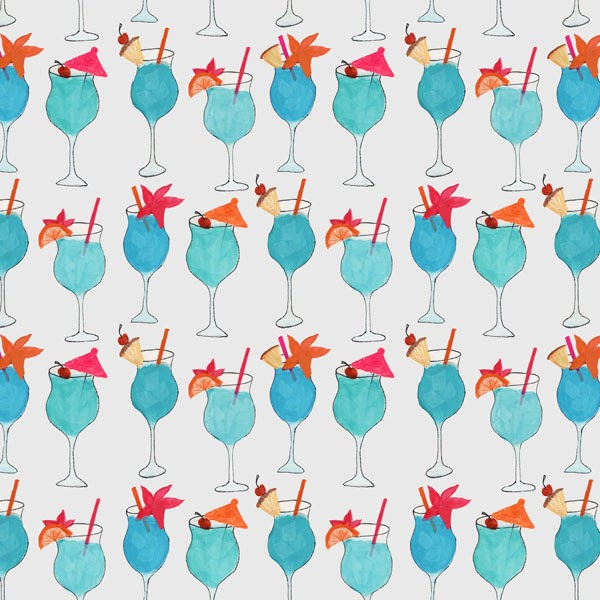 Ink and watercolor Blue Hawaii cocktail pattern by Abby Galloway