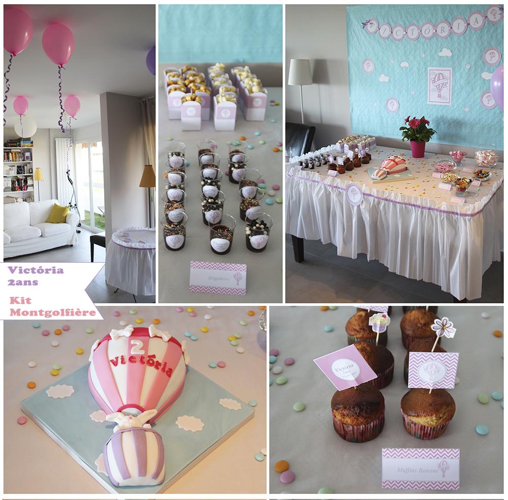 ambiance anniversaire rose montgolfière