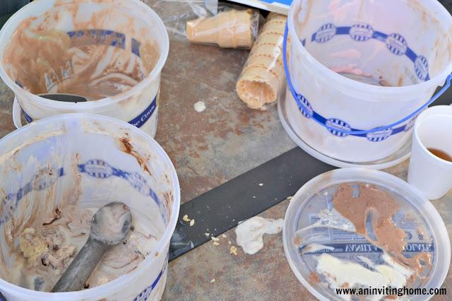 empty ice cream containers