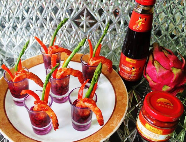 Chili Garlic Shrimps with Dragon Fruit Puree Recipe