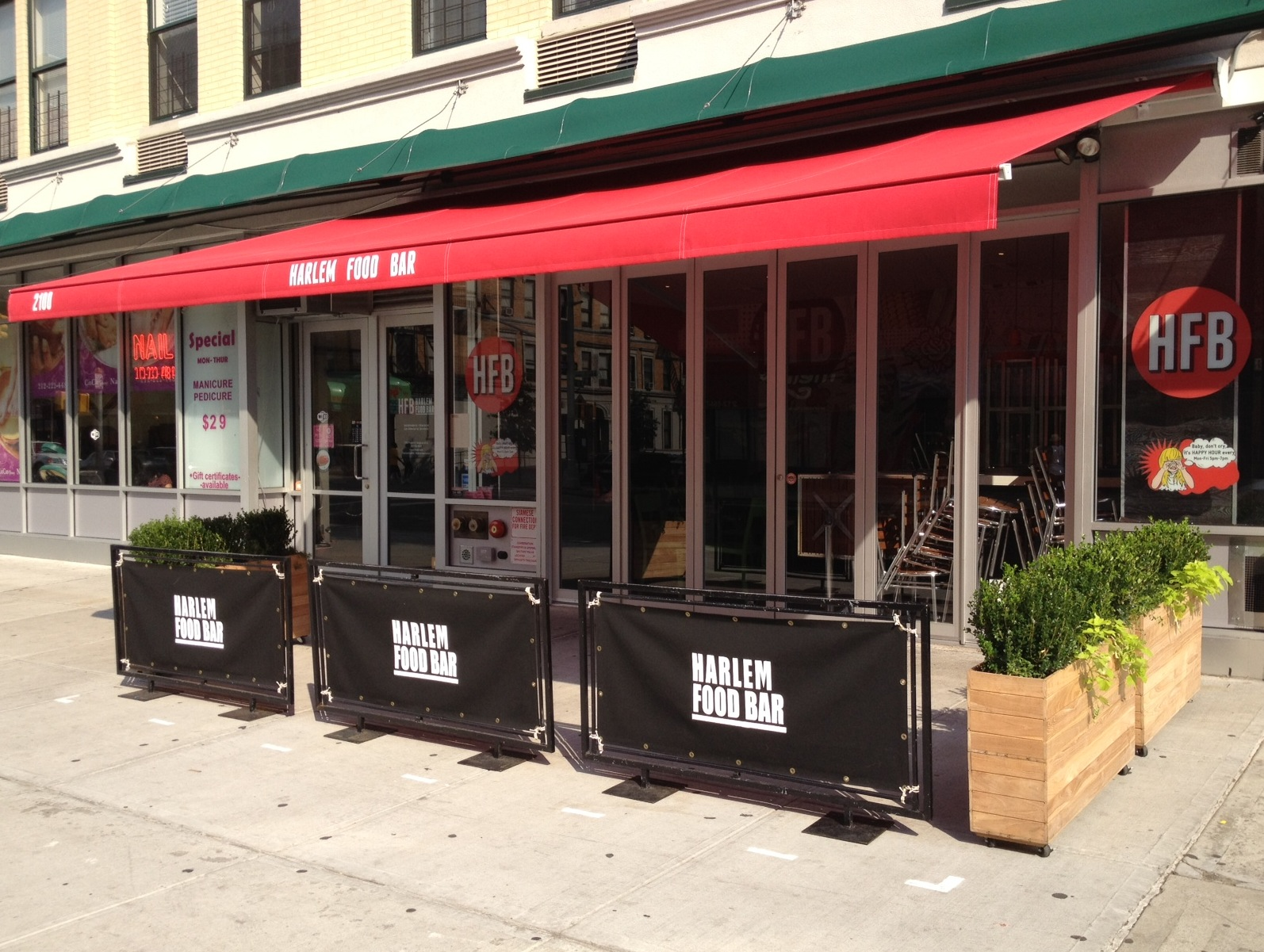 H a r l e m b e s p o k e shop new awning at harlem for Food bar harlem
