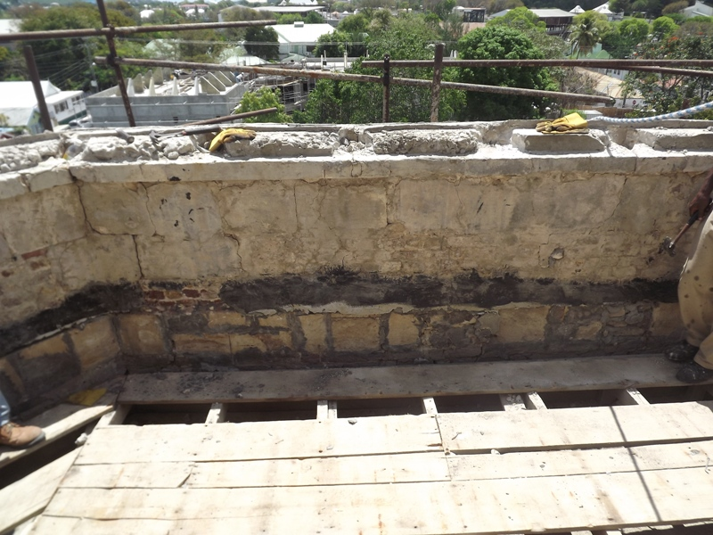 Parapet Roof Drain Installed And The Original Drains That Drained This Roof Also Below The