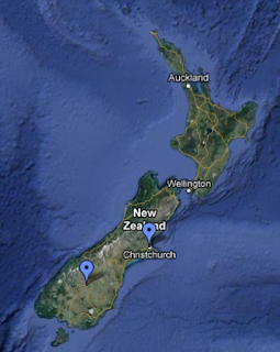 Relative locations of Christchurch and Cromwell.