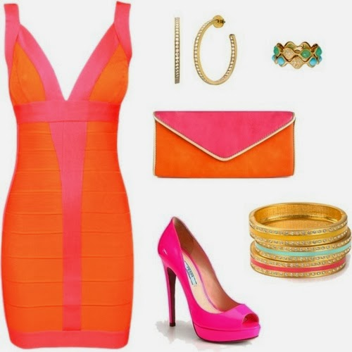 Perfect combinetion of orange-purple dress,shoes with accessories