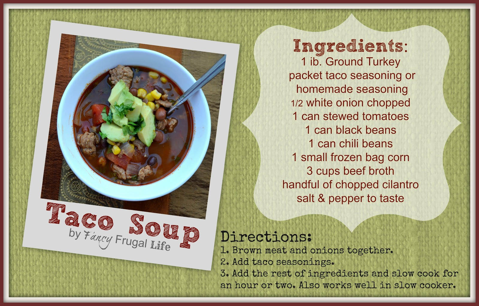 Easy delicious ground turkey taco soup recipe i also started making my own taco seasoning without msg try this recipe from whole new mom forumfinder Images