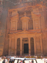 "The famous red carved rock ""Treasury"" Facade at Petra, Jordan"