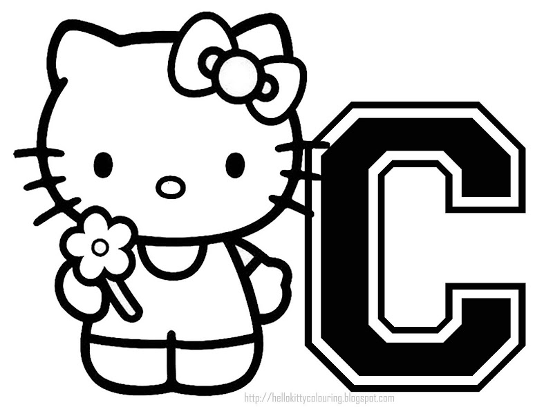 PERSONALIZED COLORING PAGE INITIAL LETTER HELLO KITTY title=