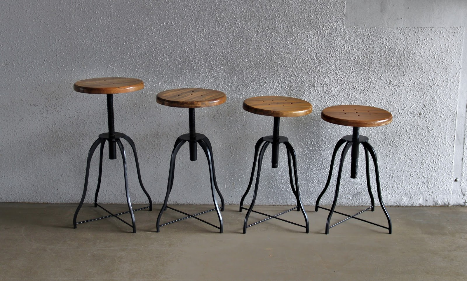 Amazing photo of round industrial stool solid teak top swivel to a bar stool height $  with #886343 color and 1600x964 pixels