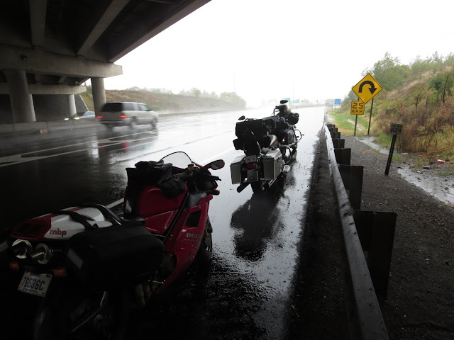 Motorcycles waiting out the rain in Pennsylvania.
