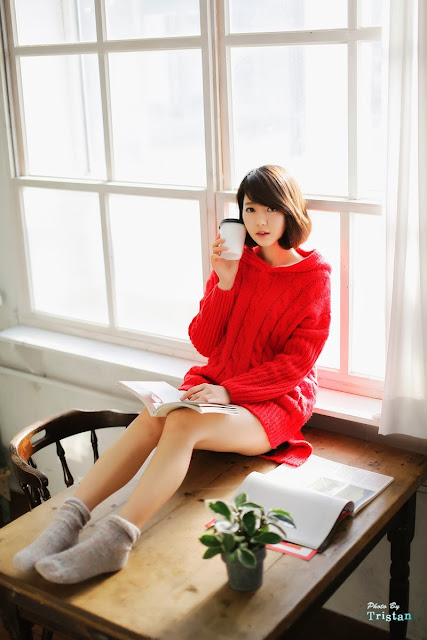 5 Bo Mi in red - very cute asian girl-girlcute4u.blogspot.com