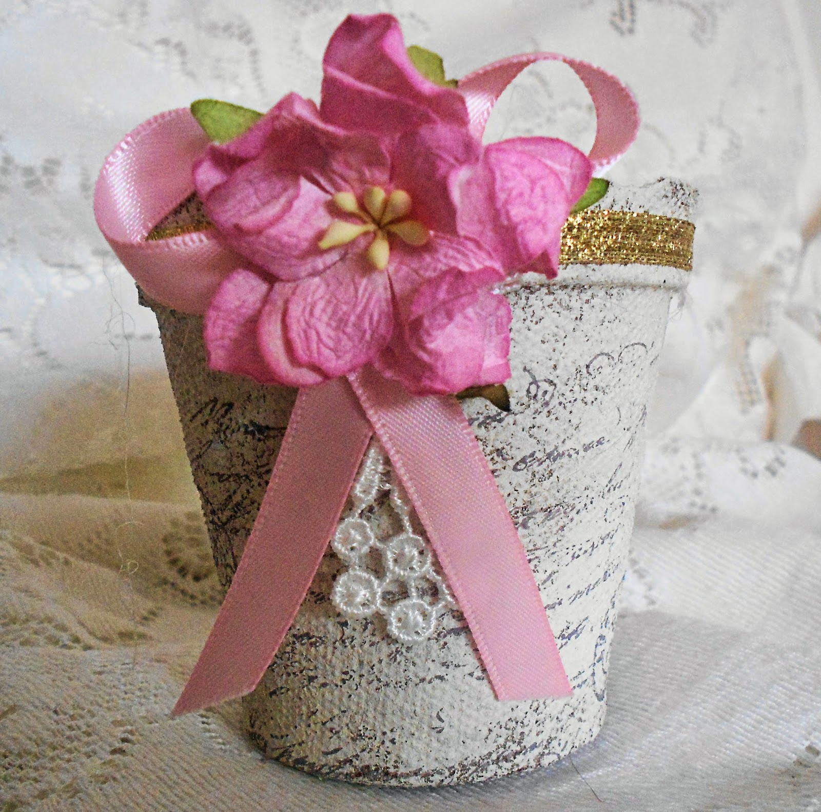 Laughngypsy: Shabby Chic Peat Pot Decorations, Party Favors, Treat Cups