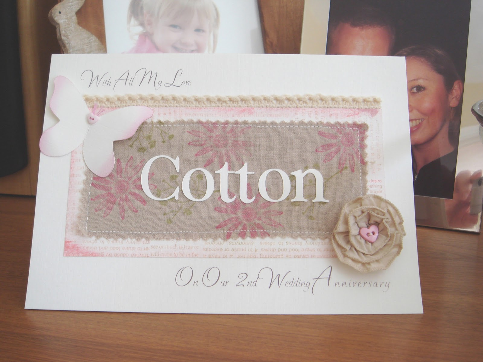 2 Year Wedding Anniversary Ideas Cotton : Designs for Occasions: Second Wedding Anniversary Card -