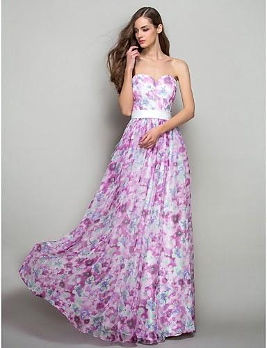 Vestido Largo de Princesa de Gasa Floral