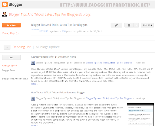 Blogger in Draft Homepage