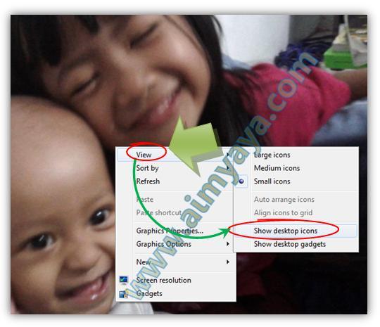 Gambar: Cara memunculkan icon-icon di desktop pada Windows