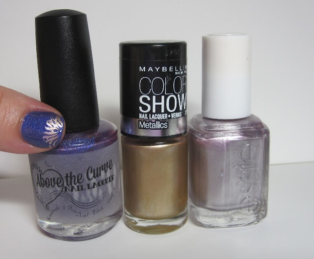 Bottle shot:  Above the Curve Lemming Have It!,  Essie Nothing Else Metals, and Maybeline Bold Gold