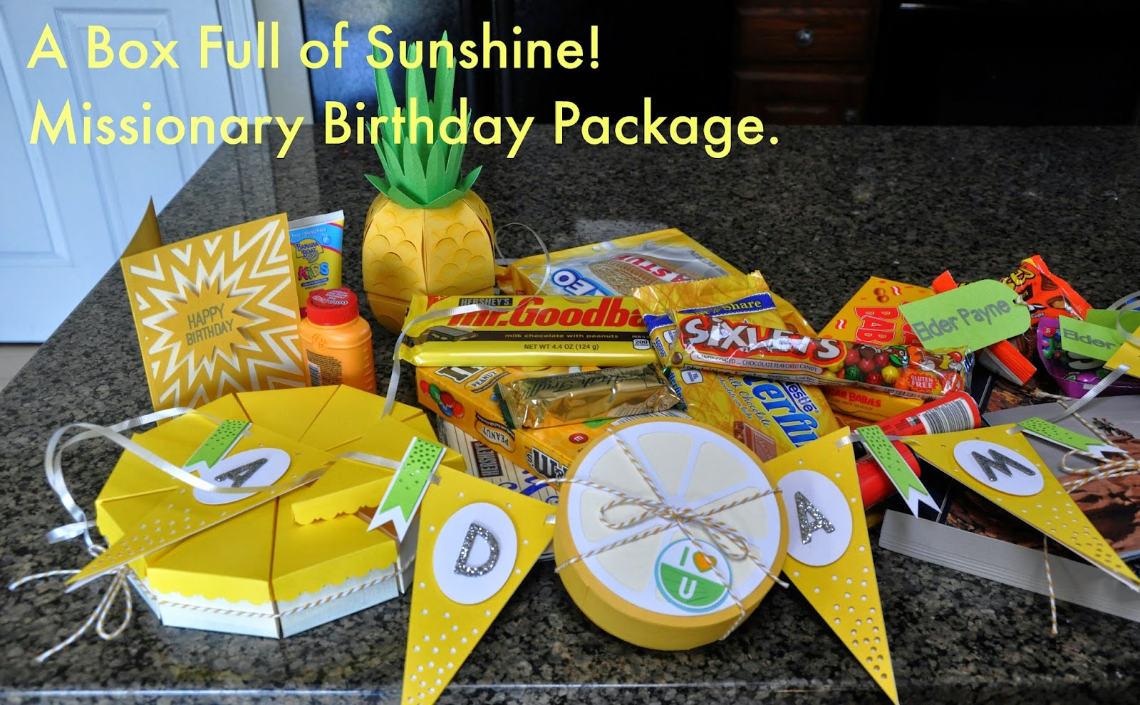 A Box full of sunshine! Missionary Birthday Package.
