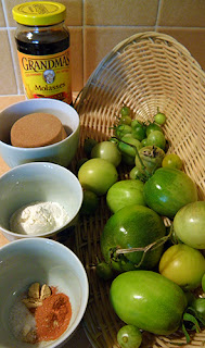 Green tomatoes, molasses, brown sugar, and spices