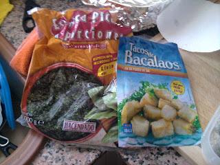 bacalao en tacos y espinacas en porciones, congelados Mercadona