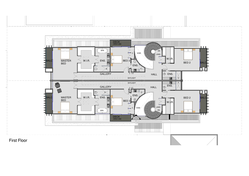 First floor plan of Perfect Modern Townhouse by Martin Friedrich Architects