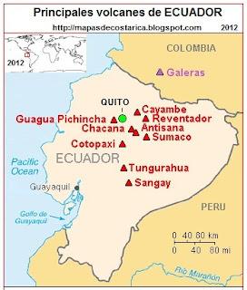 Mapa de los principales volcanes de ECUADOR